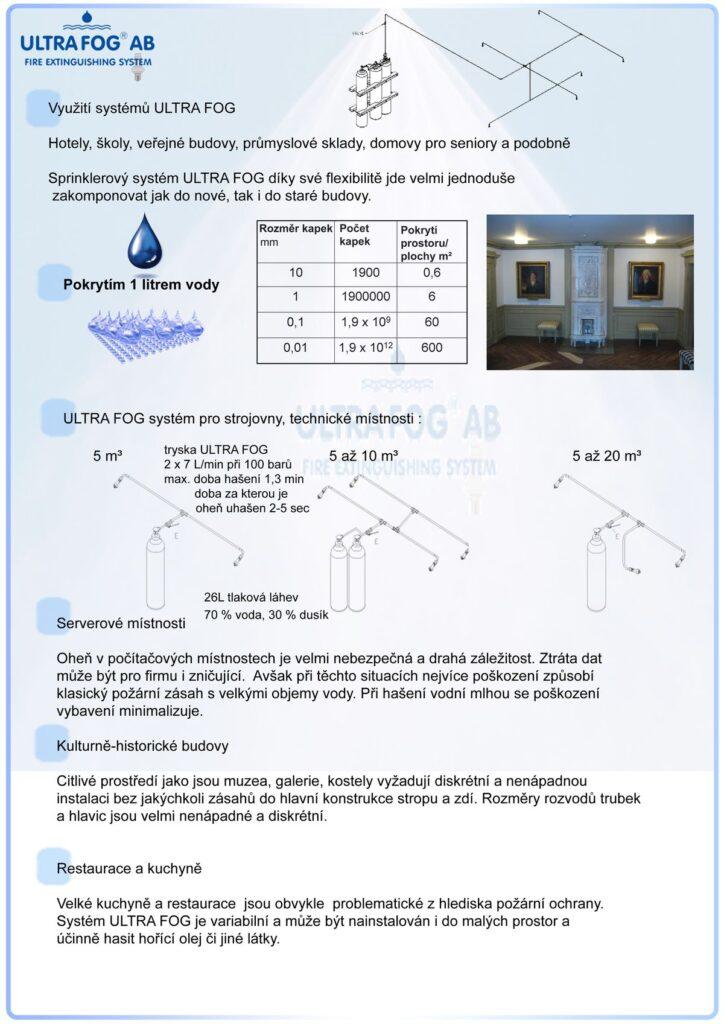 Hasební technika ULTRA FOG - efektivní hasební technika - využití systémů